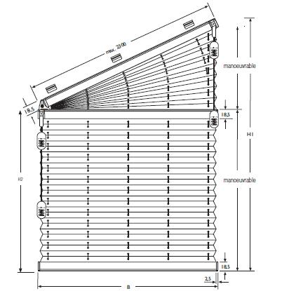 Formes spéciales Store Plissé trapèze