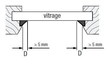 Store plissé collé sur le carreau joint supérieur à 5 mm