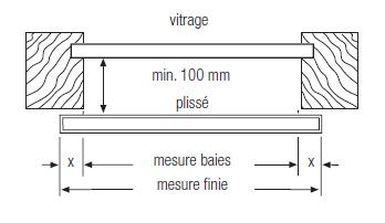 Store plissé écart de 10 cm de la verriere hors jour