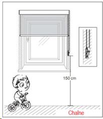 Sécurisation des chainettes et cordons de stores explication ds normes